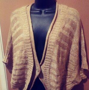 Ellen Tracy Cartigan Tan Sweater sz Large